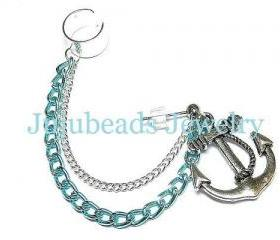 Baby Blue Anchor Chain Ear Cuff Earring