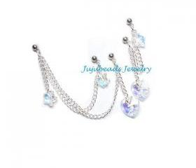 Triple Double Cartilage Piercing AB Swarovski Heart n Star Set