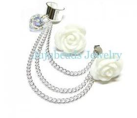 White Rose Swarovski Chain Ear Cuff