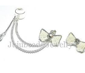 White Bow Swarovski Ear Cuff