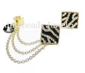 Gold Zebra Chain Ear Cuff Set